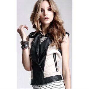 Bar III linen/leather asymmetrical-zip Moto vest M